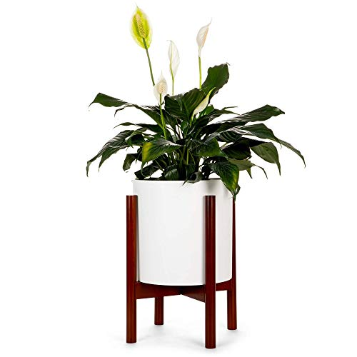 """Mid Century Plant Stand, Bamboo Wood, Tall, Plant Stands Indoor - Stylish Modern Planter Pot Stands with Soft Feet - Eco-Friendly, Solid, Minimalistic - Elegant Home and Garden Decor, 9.75"""" ()"""