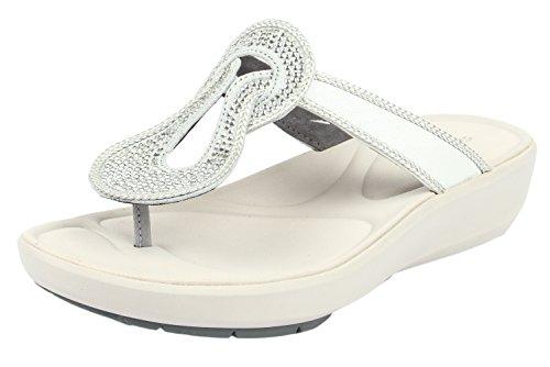 Clarks Women's Wave Glitz Silver Slippers – 5 UK
