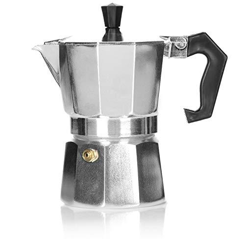 COM-FOUR® 1x cafetera espresso para 3 tazas – cafetera moka de diseño clásico – cafetera – cafetera espresso – cafetera…