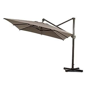 Abba Patio Offset Patio paraguas 10pies para colgar paraguas voladizo Rectangular con Cruz base y paraguas, color marrón