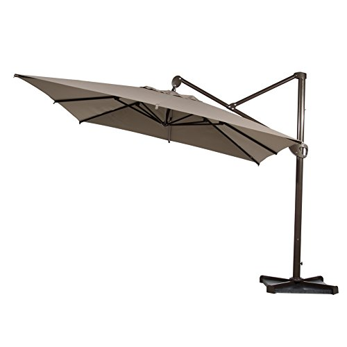 Abba Patio Offset Patio Umbrella 10-Feet Hanging Rectangular Cantilever Umbrella with Cross Base and Umbrella Cover, Tan