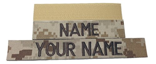 Customized Name Tape, with Fastener or Sew-On, ACU Multicam OCP Black ABU OD Green Desert Tan NavyBlue - Custom - US ARMY USAF USMC POLICE CivilAirPatrol Tape, Custom (Desert Marpat, With Fastener) (Desert Cam)