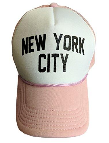 Pink Screen Printed - NYC FACTORY New York City Baseball Hat Screen-Printed Mesh Trucker Cap (Pink)