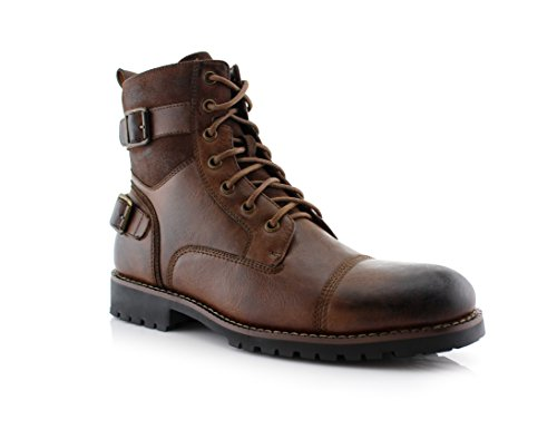 Polar Fox MPX808583 Mens Combat Ankle Boots Antique Finsh Brown 10.5