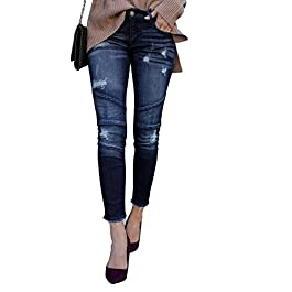 Meilidress Womens Juniors Distressed Ripped Boyfriend Skinny Denim Ankle Length Jeans