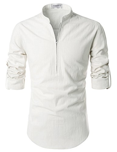 NEARKIN (NKNKN352 Beloved Mens Chinese Zipup Collar Linen Roll Up Shirts White US L(Tag Size L)