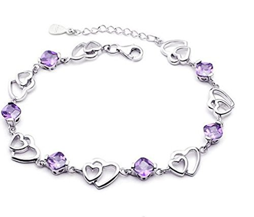 Price comparison product image 925 Sterling Silver Bracelet Double Purple Heart Crystal Bangle Bracelet