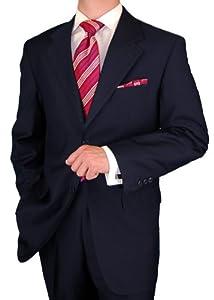 B00267EMAY Gino Valentino Men's 2 Button Jacket Flat Front Pants Dk. Navy Suit (40 Regular)