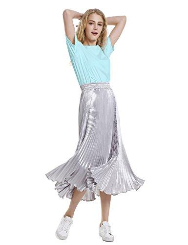 ZAN.STYLE Women's Plus Size Slub Cotton Tunic Tee Shirt Long T Shirt for Leggings Medium Style 2-Light Blue by ZAN.STYLE (Image #5)