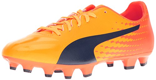 Puma Mens evoSPEED 17.4 FG Soccer Shoe Ultra Yellow-peacoat-orange Clown Fish