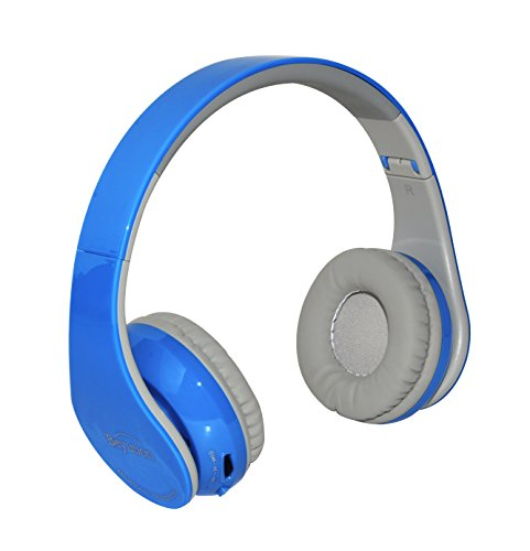 Beyution Bluetooth Headphone Stereo Hi-fi Wireless Headset with Noise Cancelling, Secure Fit, Long Battery Life Built-in Mic & 3.5mm Audio Jack for iPhone Samsung Adroid (BT513 Blue)