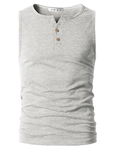 DANDYCLO Men's Henley Style Premium Design Sleeveless Premium Top Ivory (Design Sleeveless)
