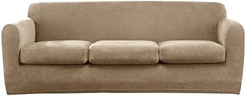 Surefit SF45894 Sofa Slipcover, Three Cushion, Tan