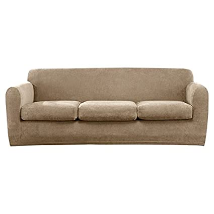 Sure Fit Ultimate Stretch Chenille   Three Cushion Sofa Slipcover   Tan  (SF45894)