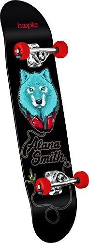 "hoopla skateboards Alana Smith ""Wolf"" Shape 191 Complete Skateboard, 7.5″ x 28.65″, Black"