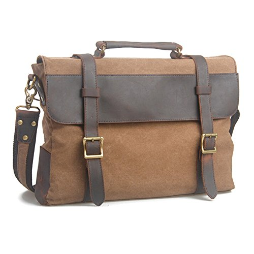 NAOKI LOVE Vintage Canvas Leather Coffee Briefcase by NAOKI LOVE (Image #1)