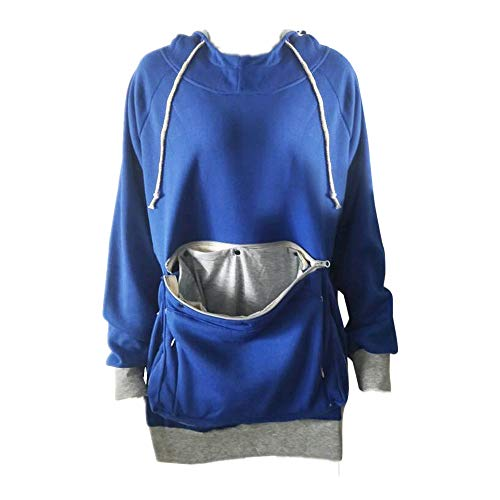 Pet Carriers, Unisex Hoodies Pet Holder Cat Dog Kangaroo Pouch Carriers Pullover (Blue, S)