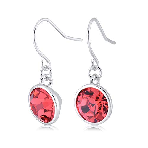 UPSERA Red Drop Dangle Earrings for Women Girls Crystals from Swarovski Silver Tone Plated Earrings Jewelry