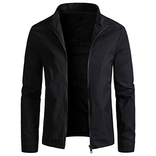WULFUL Mens Slim Fit Lightweight Windbreaker Casual Jacket Waterproof Outdoor Sportswear Black