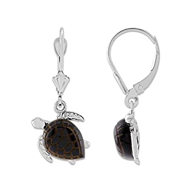 9f57f86c7 Amazon.com: Black Coral Turtle Earrings in 14K White Gold - Small: Stud  Earrings: Jewelry