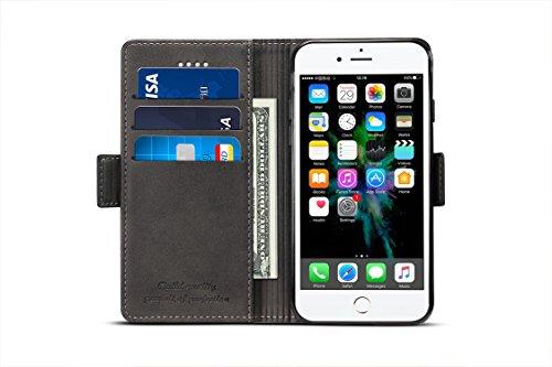 iphone6 Plus ケース 手帳型 iphone6s plusケース 手帳 DINGXIN カード収納 おしゃれ 人気 保護力抜群 サイドマグネット [高級 PU レザー+TPU素材] アイフォン6プラスケース アイフォン6sプラスケース 耐衝撃 スタンド機能付き (iPhone6/6s Plus, 5.5インチ, ブラック)