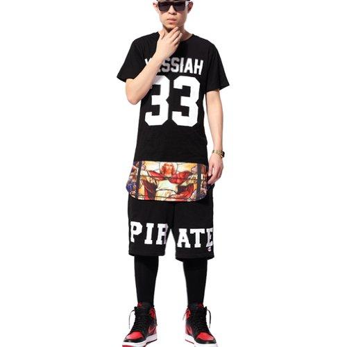Pizoff Mens Unisex Hipster Cashew Paisley Bandana Extended Side Zipper T shirts