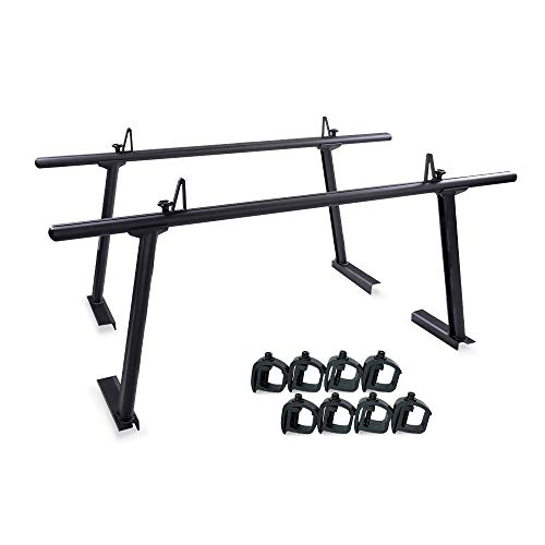 AA-Racks Model APX25 Extendable Aluminum Pick-Up Truck Ladder Rack Black (No drilling required)