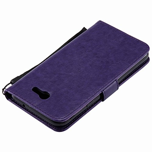 Yiizy Samsung Galaxy J7 (2017) Funda, árbol De Dibujo Design Premium PU Leather Slim Flip Wallet Cover Bumper Protective Shell Pouch with Media Kickstand Card Slots (Púrpura)
