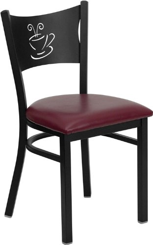 Flash Furniture HERCULES Series Black Coffee Back Metal Restaurant Chair – Burgundy Vinyl Seat