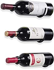 Wall Mount Iron Wine Rack Wine Bottle Holder Rack for Home and Kitchen Decor Set of 3 Black Wine Storage