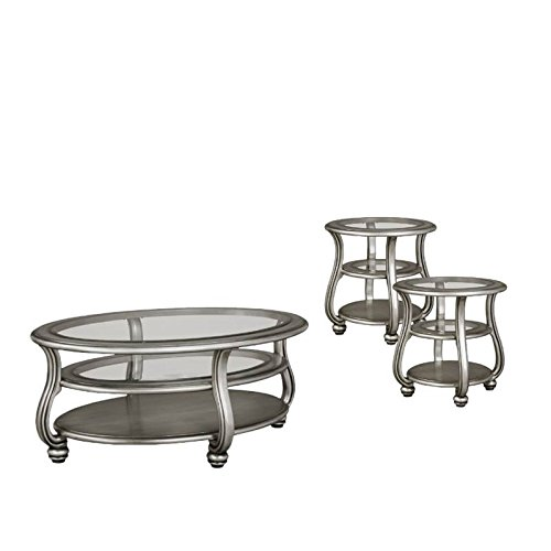 Home Square 3 Piece Coffee Table Set with Coffee Table and Set of 2 End Table in Silver