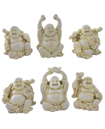 Set of 6 Small Happy Buddha Figurines in Ivory Finish, 2.5 Inches