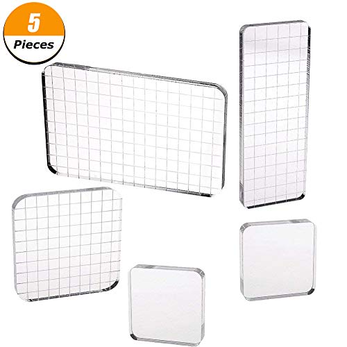 5 Pieces Acrylic Stamping Blocks with Grid Lines for Scrapbooking Crafts Making, 4 Sizes by FYshun