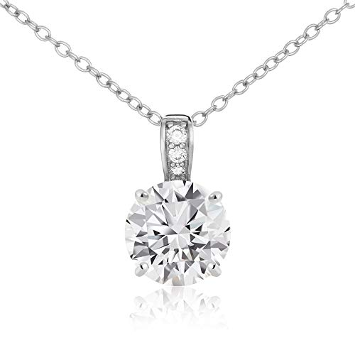 Lusoro 925 Sterling Silver AAA CZ Solitaire with Pave Bail Pendant Necklace 18