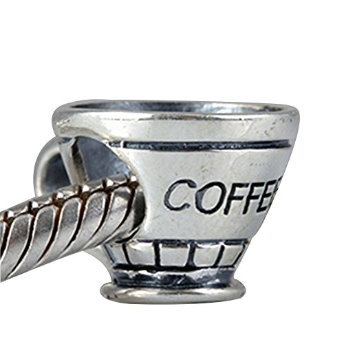 "Coffee Cup Charms 100% Authentic 925 Sterling Silver Letter ""Coffee"" Beads for Pandora (Authentic Pandora Bead)"