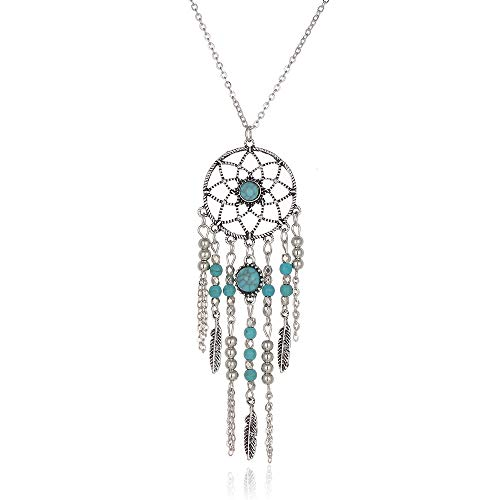 New Incredible Turquoise Green Bohemian Dream Catcher Necklace Silver Antique Boho Pendant Chain,Jewelry with a Luxury Gift Box for Easy Gift Giving