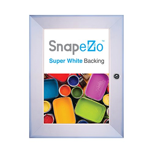 SnapeZo Notice Poster Case 11x17 Inches, Silver 1.8'' Aluminum Profile, Locking Poster or Menu Case, Lockable Case, Wall Mounting, Professional Series by SnapeZo