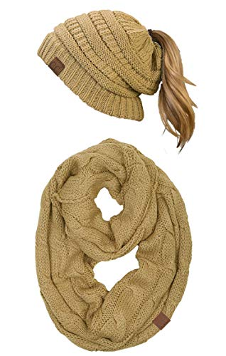 - cBT-6020a-13 Messy Bun Beanie Tail Matching Scarf Set Bundle - Camel