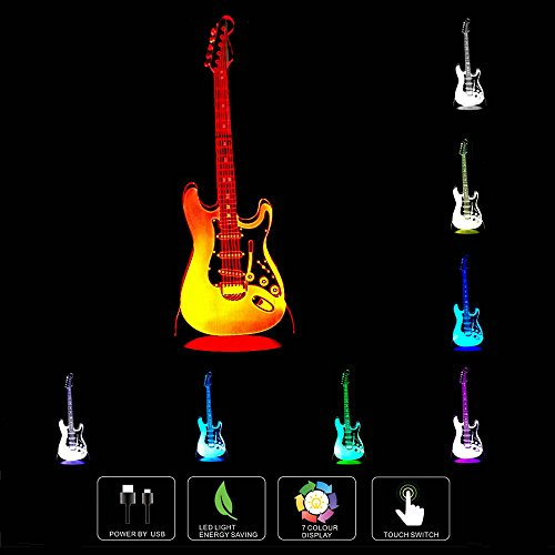 Price comparison product image Unitake 3D Night Light Electric Guitar Modern 3D Illusion LED 7 Color Changing USB Touch Sensor Table Lamp for Children Gift