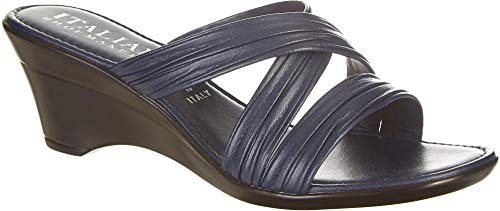 ITALIAN Shoemakers Womens Cruise Wedge Sandals 7 Navy Blue