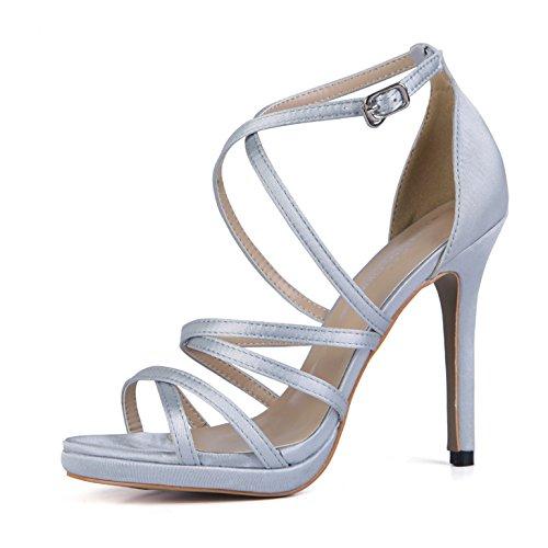 ZHZNVX Sandalias verano mujer sexy de satén de seda Nuevo CD banquete interesante bien con zapatos de mujer con zapatos que fueron lattice light grey