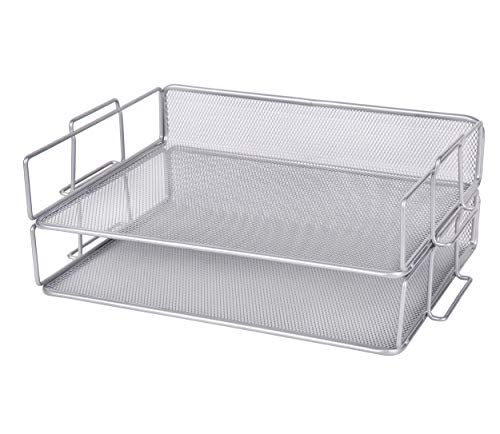 (Exerz Letter Tray Desk Organizer 2 Tier Stackable - Wire Mesh Paper Sorter 2pcs Pack/Desk Multifunctional Organizer/File Holder for Office, School, Study, Space Saver (EX62005 Silver))