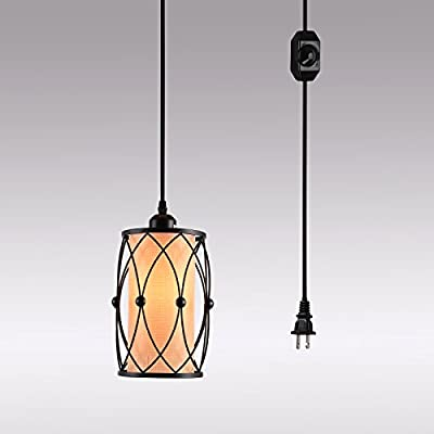 HMVPL Swag Plug-In Pendant Light with 15 Ft Hanging Cord and On/Off Dimmer Switch,Original Industrial Cage and Linen Lampshade Design for Dining Room, Bed Room,Hallway and more