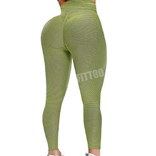 FITTOO Womens High Waist Butt Ruched Leggings Booty Scrunch Textured Yoga Pants