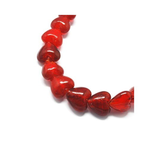 Packet 20 x Red Foil Glass 12mm Puffy Heart Beads Y05590 (Charming Beads)