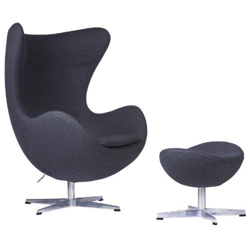 LeisureMod Modena Mid-Century Fabric Accent Egg Chair with Tilt-Lock Mechanism & Ottoman (Dark Grey Wool)