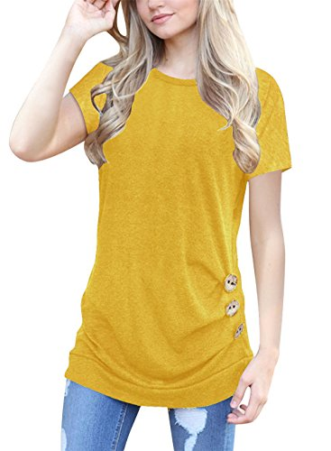 Samefar Women Loose Short Sleeve Stereo Trim T-Shirt Top With Cute Button Small Yellow