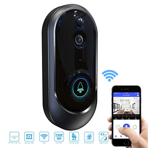 Smart Wifi Video Doorbell, SURUN Smart Wireless Doorbell 720p HD Security Camera, Ring Video Doorbell with PIR Motion Detection, Two-Way Audio, Night Vision, Smart Doorbell Support for iOS and Android