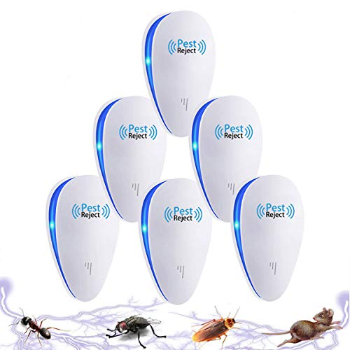 Tomu Ultrasonic Pest Repeller for Bugs and Insects, Mice Repellent to Repel and Prevent Mouse, Ant, Mosquito, Spider, Rodent, Roach,Child and Pets Safe Control (6 Packs)