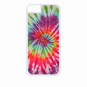 Hot Pink Splash Tie Dye- Case for the Apple Iphone 5C-Hard White Plastic Outer Shell with Inner Soft Black Rubber Lining